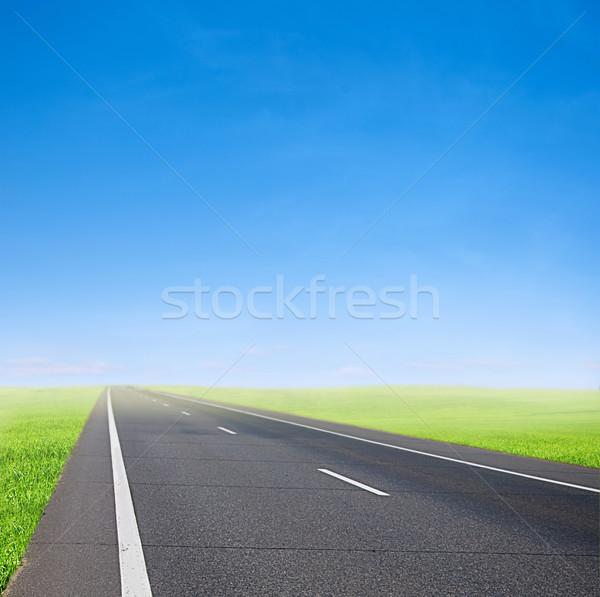 Autó út kék ég zöld mező sebesség Stock fotó © vkraskouski