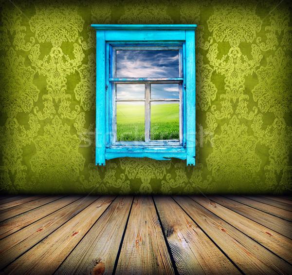Zöld szoba ablak mező égbolt fölött Stock fotó © vkraskouski