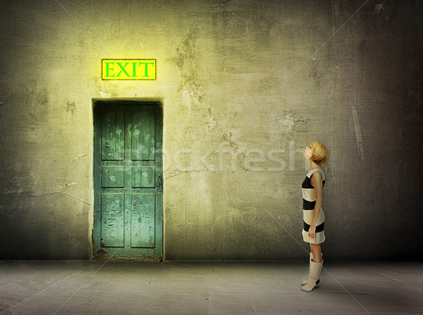 girl door room exit sign Stock photo © vkraskouski