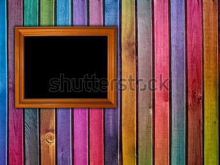 four blank photos on colorful wooden background Stock photo © vkraskouski