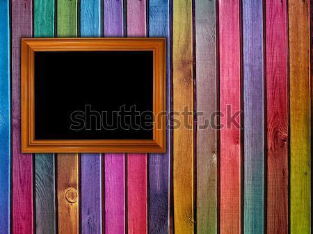 Négy fotók színes fából készült fa fal Stock fotó © vkraskouski