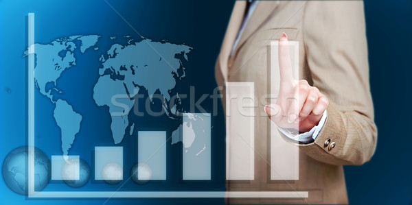 hand touch virtual graph,chart, diagram  Stock photo © vkraskouski