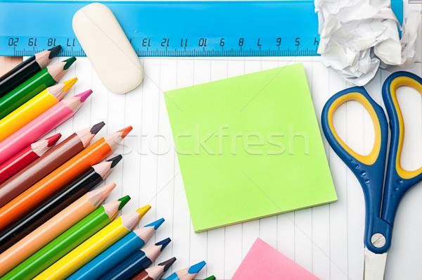 набор канцтовары школы служба инструменты карандашей Сток-фото © vkraskouski