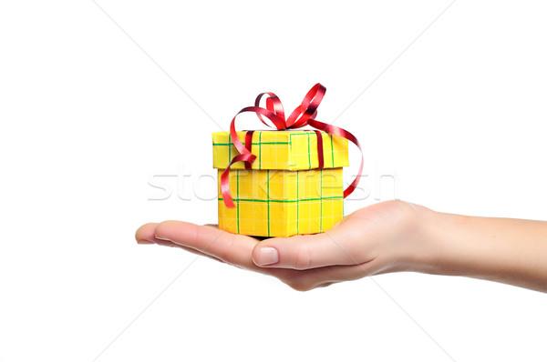 Mão caixa de presente isolado feminino vermelho Foto stock © vkraskouski