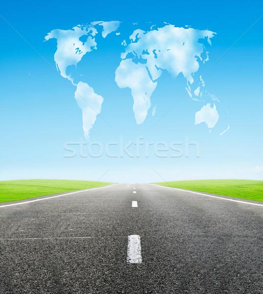 Mező út felhős világ forma égbolt Stock fotó © vkraskouski