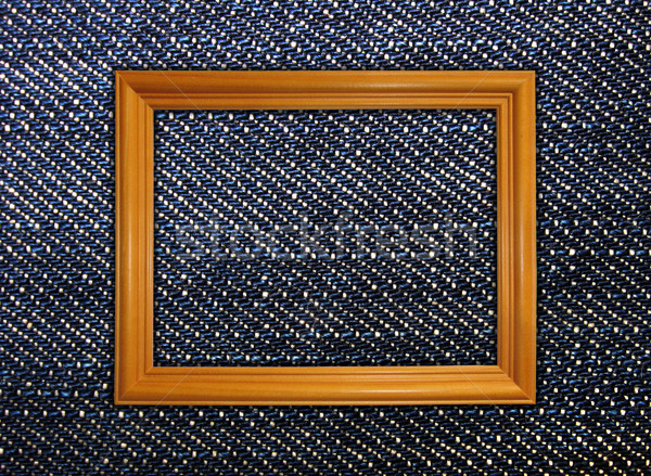 wooden frame on jeans background Stock photo © vkraskouski