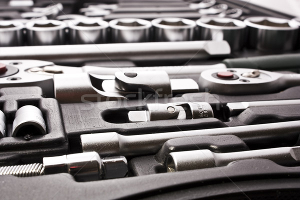 Metálico ferramentas construção fundo trabalhador Foto stock © vkraskouski