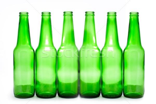 Foto stock: Seis · garrafas · verde · isolado · branco · aniversário