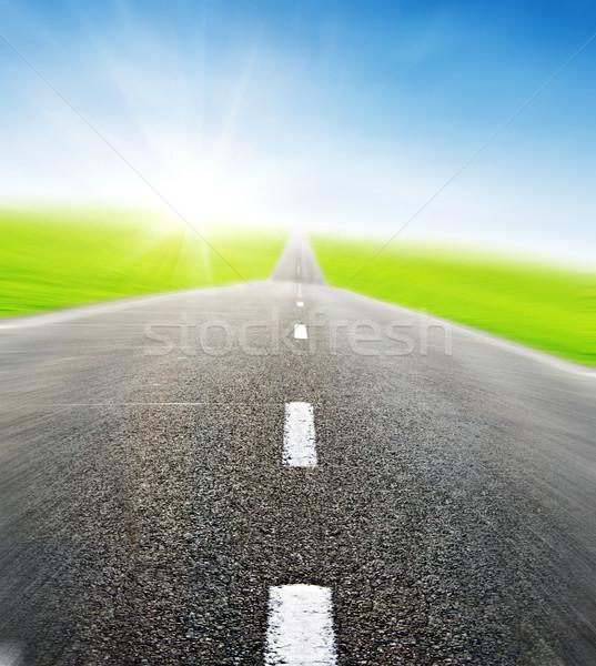 Yol mavi gökyüzü hareket yeşil alan seyahat Stok fotoğraf © vkraskouski