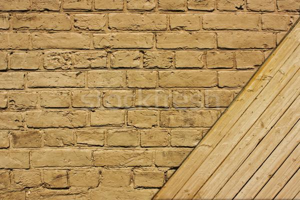 Téglafal klasszikus barna mintázott tégla fából készült Stock fotó © vkraskouski