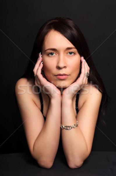 Portre esmer kadın siyah genç Stok fotoğraf © vkraskouski