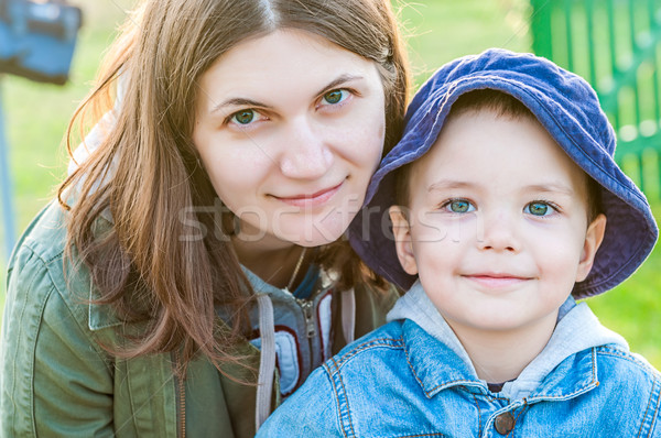 portrait of young woman and her boy Stock photo © vkraskouski