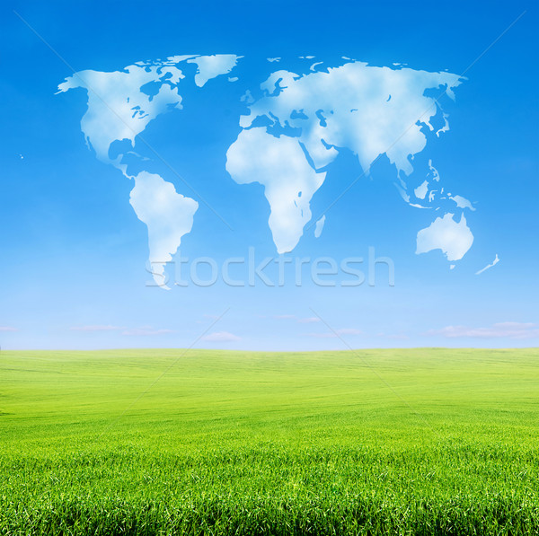 field of grass with world shaped clouds Stock photo © vkraskouski