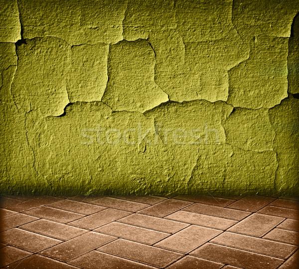 Vintage интерьер зеленый треснувший стены текстуры Сток-фото © vkraskouski