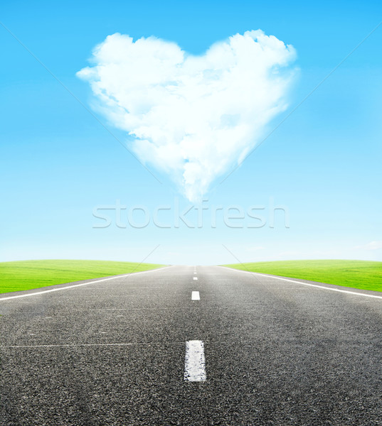 road and cloudy heart in sky Stock photo © vkraskouski