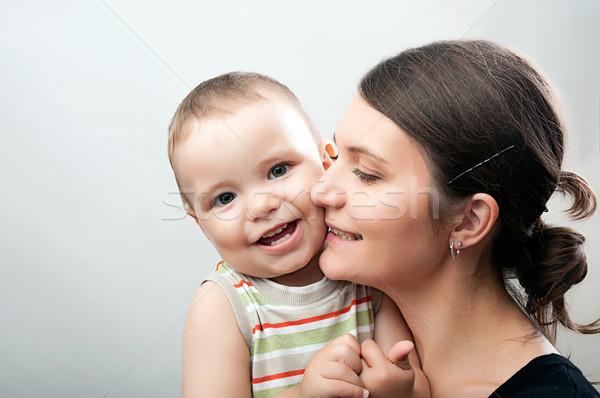 Anne bebek beyaz gri portre mutlu Stok fotoğraf © vkraskouski