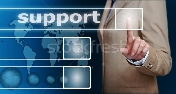 Foto stock: Mano · apoyo · botón · mujer · de · negocios · pantalla · táctil