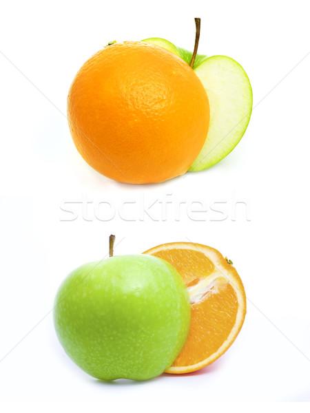 Yeşil elma turuncu yalıtılmış beyaz dizayn Stok fotoğraf © vkraskouski
