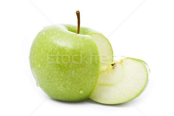 Lédús zöld alma izolált fehér boldog Stock fotó © vkraskouski