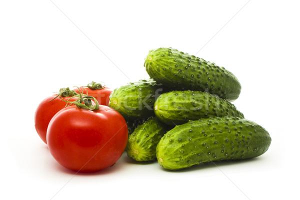 Salatalık domates yalıtılmış beyaz gıda arka plan Stok fotoğraf © vkraskouski