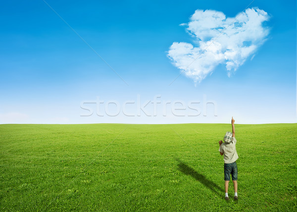 boy field clouds in shape of heart Stock photo © vkraskouski