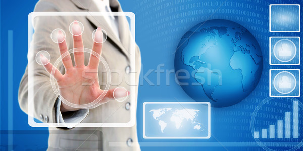 hand touching fingerprint scanner in interface Stock photo © vkraskouski