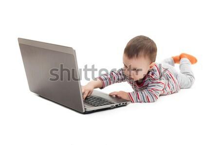 ребенка кнопки ноутбука изолированный белый Сток-фото © vkraskouski