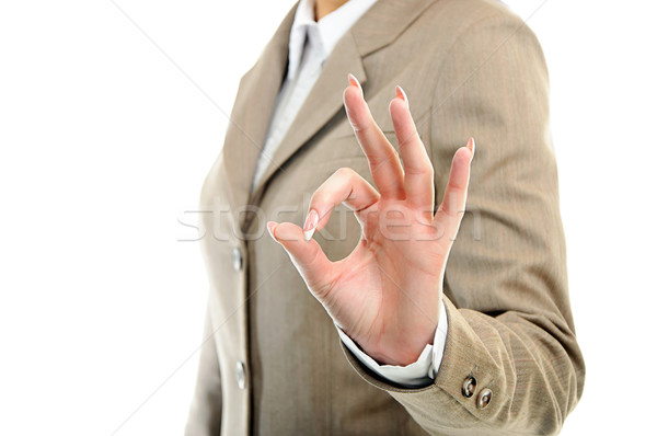 Stock photo: female hand showing ok over white