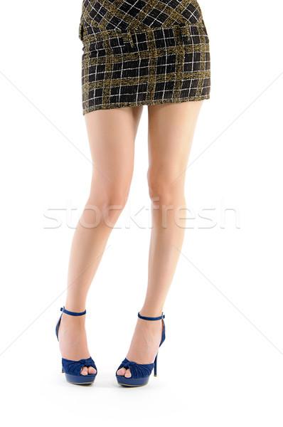 Kobiet nogi niebieski buty brązowy spódnica Zdjęcia stock © vkraskouski