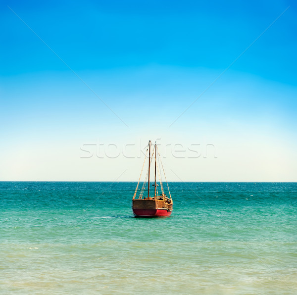 boat in the sea over sky Stock photo © vkraskouski