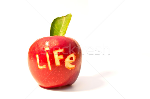 word of life cut out on a red apple Stock photo © vlaru