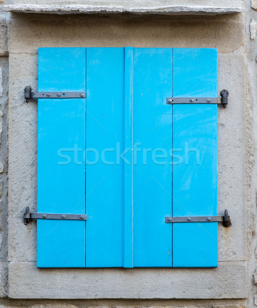 old window with  closed blue wooden shutters Stock photo © vlaru