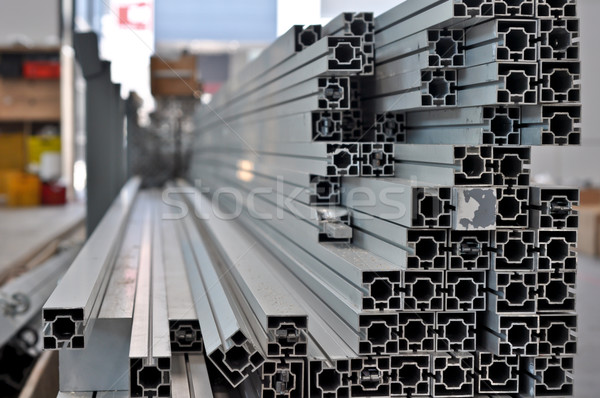a stack of aluminum structural profiles Stock photo © vlaru