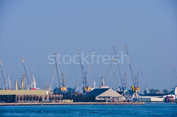 Rotterdam sea cargo port skyline Stock photo © vlaru