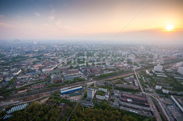 Bird's eye view of Moscow at dawn Stock photo © vlaru