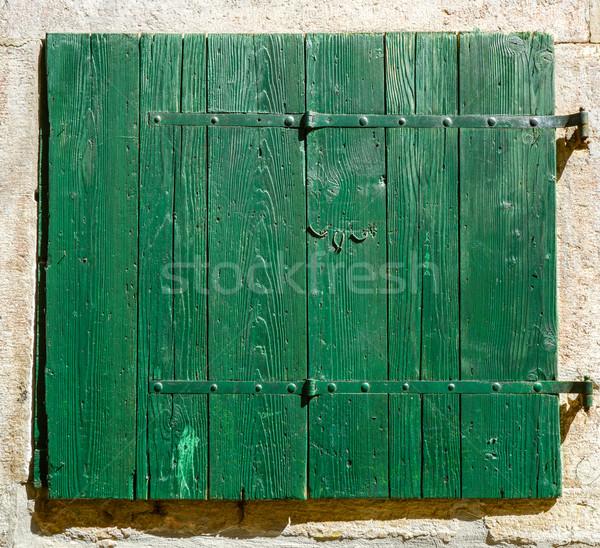 старые окна закрыто жалюзи зеленый Сток-фото © vlaru
