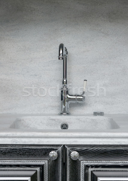 Vintage silver Polished Kitchen Faucet Stock photo © vlaru