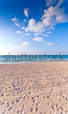 sandy beach with lots of footprints and a blue sky with clouds Stock photo © vlaru
