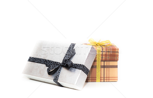 ブラウン 銀 ギフトボックス 弓 白 紙 ストックフォト © vlaru