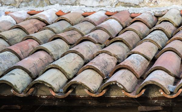 Starożytnych taflowy dachu starówka domu liści Zdjęcia stock © vlaru