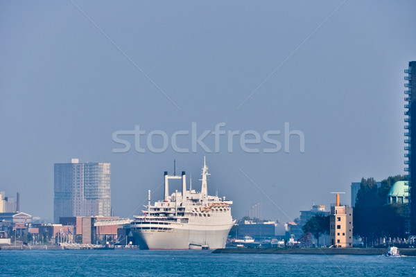 Stock photo: Maas river  skyline. Rotterdam,  Netherlands