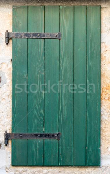öreg ablak fából készült zsalu zárva zöld Stock fotó © vlaru