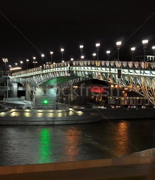 Night view to the Patriarchal bridge. Moscow. Russia Stock photo © vlaru