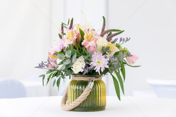 beautiful flower arrangement on white festive table Stock photo © vlaru
