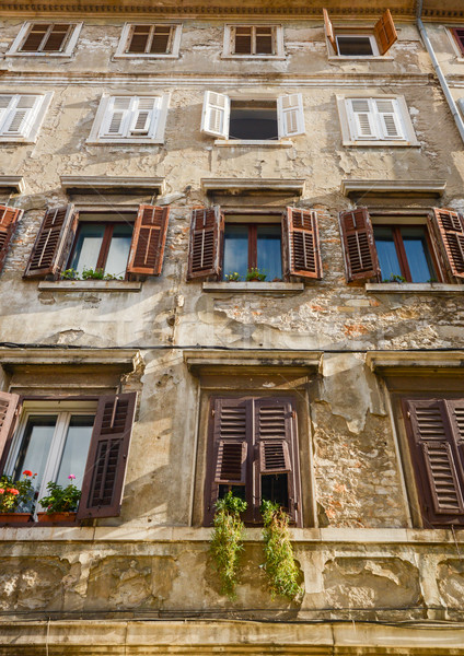 Windows and walls in old town Rovinj Croatia Stock photo © vlaru