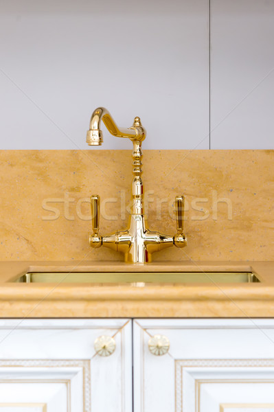 Vintage gold Polished Kitchen Faucet Stock photo © vlaru