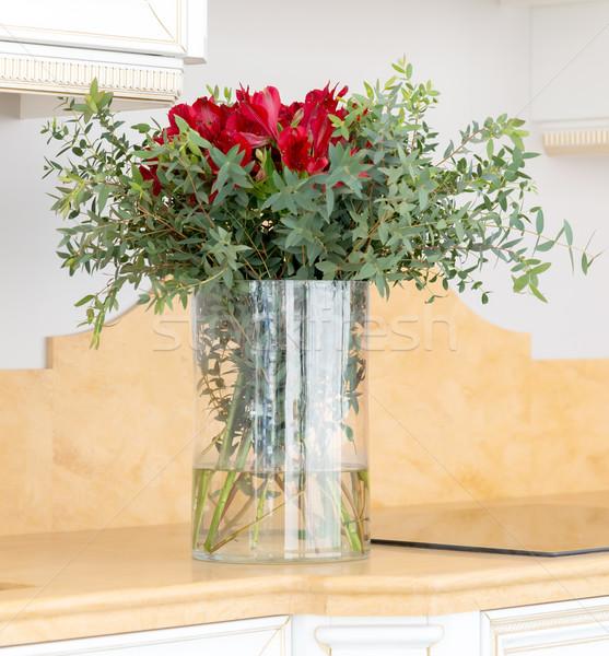 Piękna kwiat szkła Wazon papieru Zdjęcia stock © vlaru