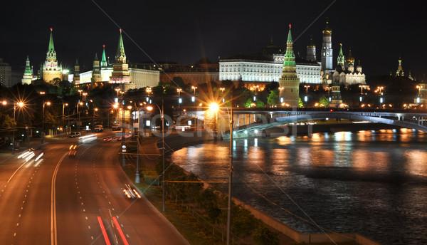 ночь мнение Москва Кремль моста Россия Сток-фото © vlaru