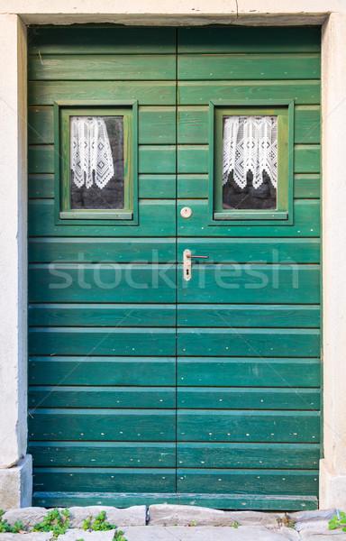 フロントドア 緑 ダブル 翼 木材 家 ストックフォト © vlaru