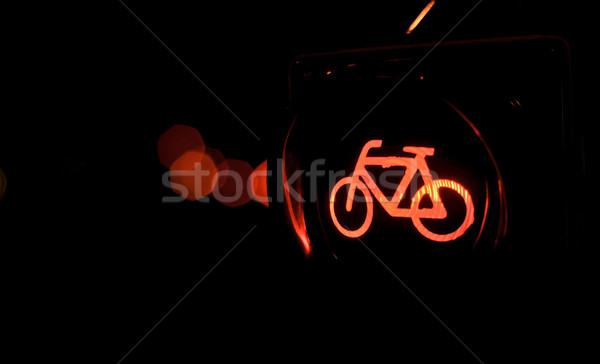 Trafik ışıkları bisiklet şehir ışık imzalamak bisiklet Stok fotoğraf © vlaru
